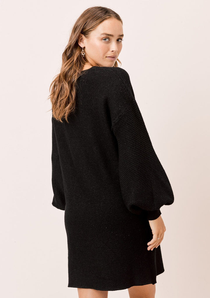 [Color: Black] Lovestitch black, ribbed sweater dress with volume lantern sleeves.