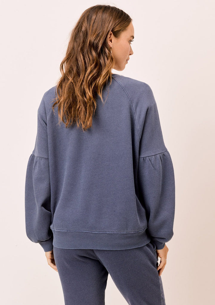 [Color: Navy] Lovestitch navy blue, pigment dyed sweatshirt with raglan volume sleeve