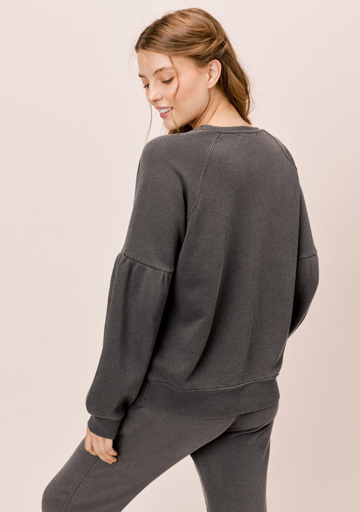 [Color: Charcoal] Lovestitch charcoal grey, pigment dyed sweatshirt with raglan volume sleeve