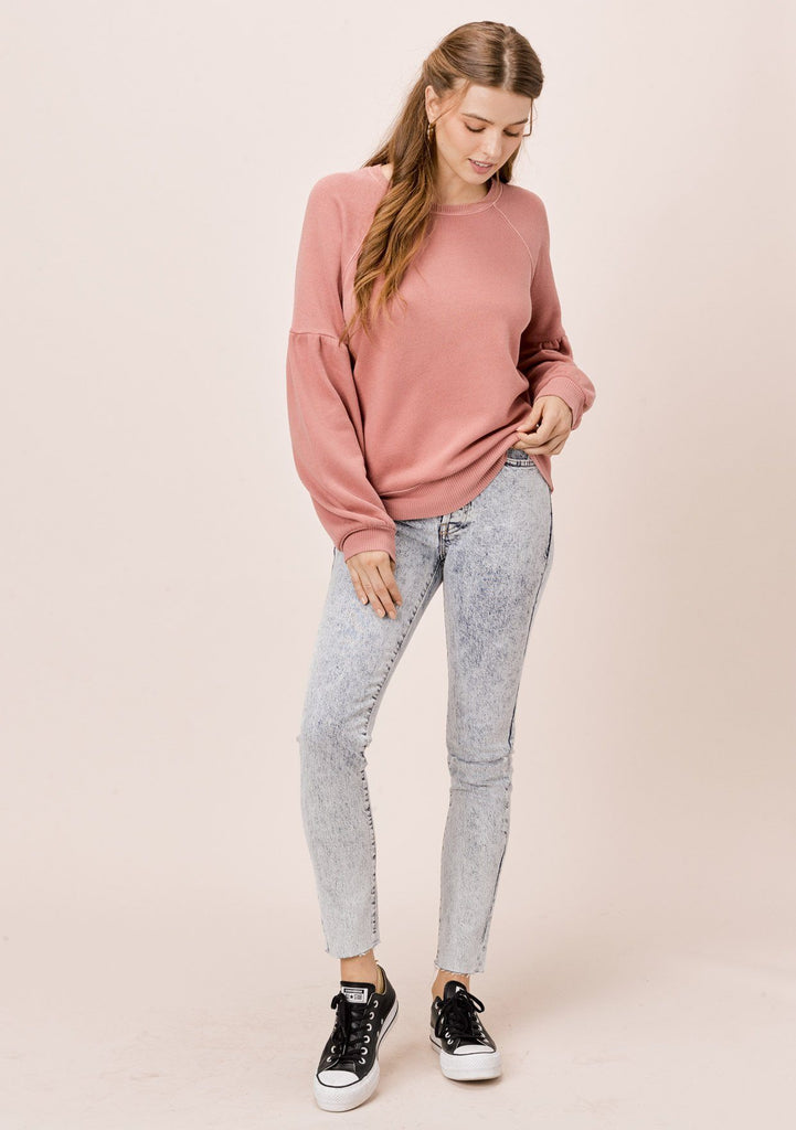 [Color: Dusty Pink] Lovestitch dusty pink, pigment dyed sweatshirt with raglan volume sleeve