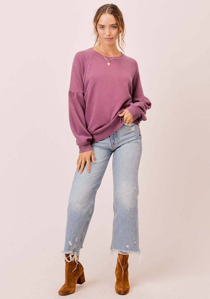 [Color: Burgundy] Lovestitch burgundy purple, pigment dyed sweatshirt with raglan volume sleeve