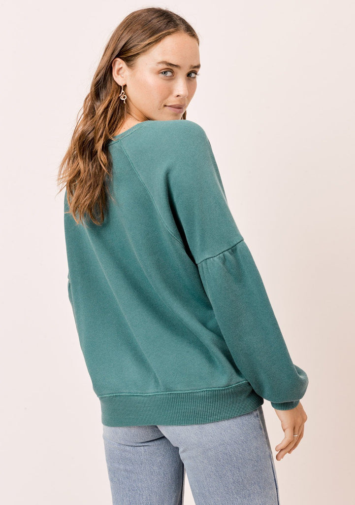 [Color: Hunter] Lovestitch hunter green, pigment dyed sweatshirt with raglan volume sleeve