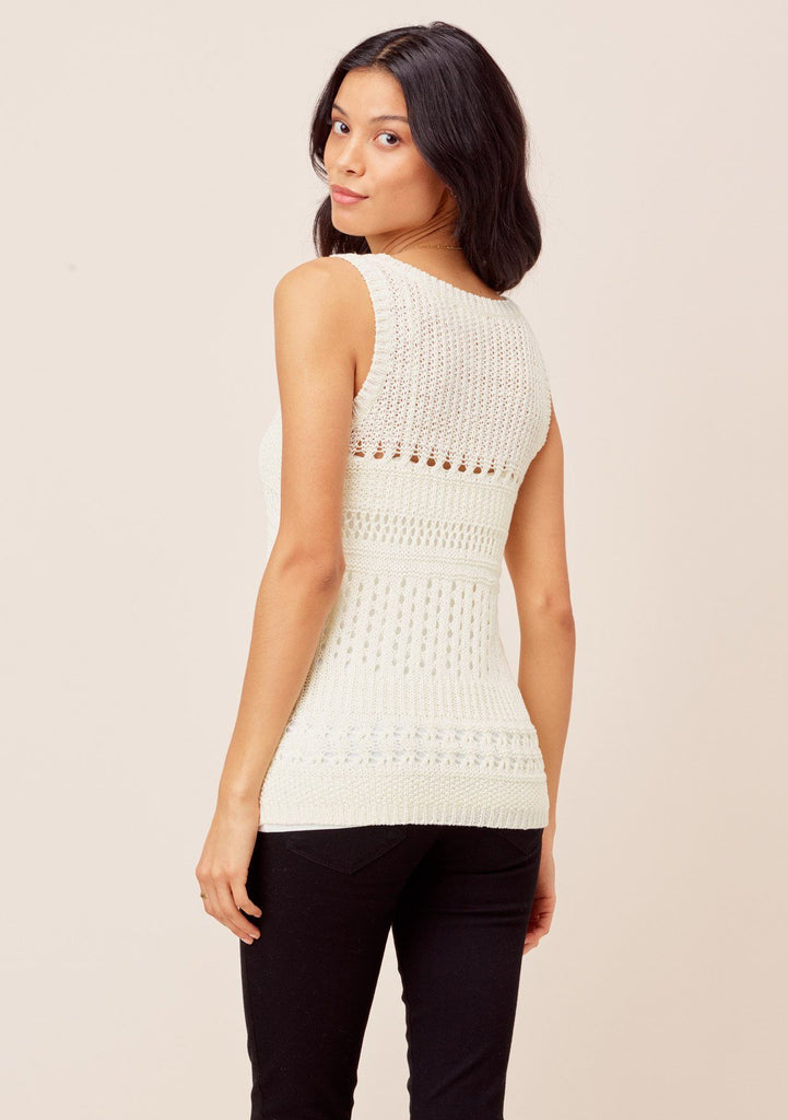 [Color: White] Lovestitch white Lightweight, open knit crochet sweater tank with V-neckline.