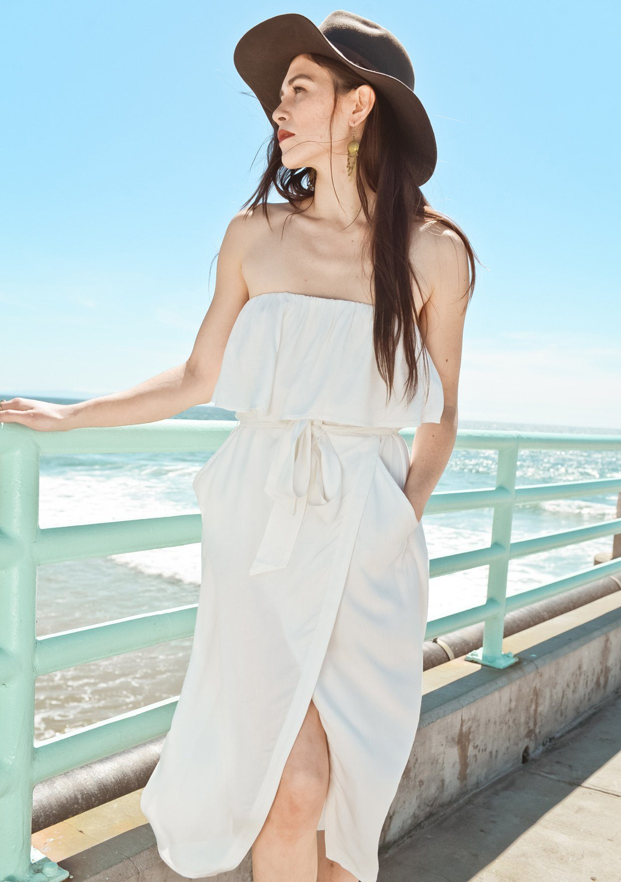[Color: White]   Lovestitch white strapless dress with flounce top and tie belt at the waist