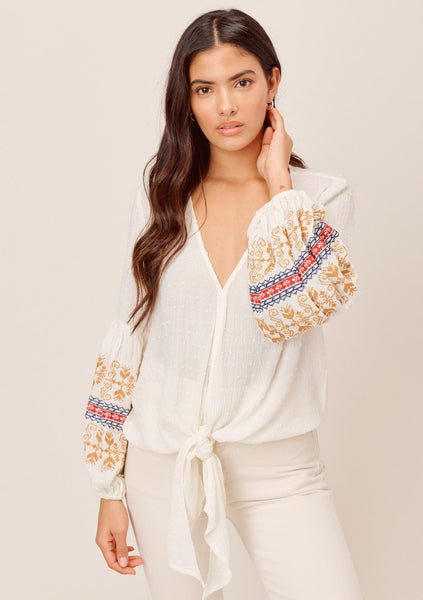 Sariah Embroidered Tie Front Top