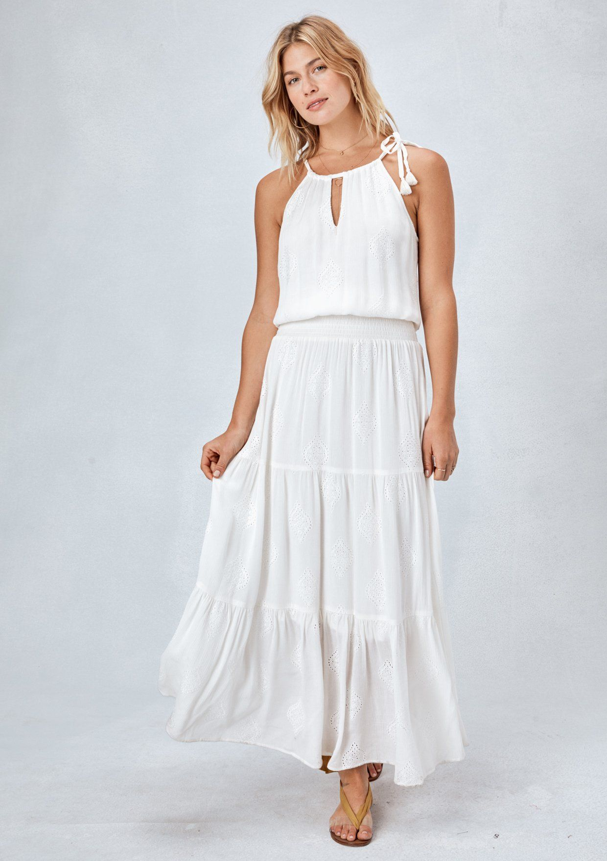 a79a83cfc7b  Color  Off White  Lovestitch White boho tiered maxi dress with embroidered  eyelet detail ...