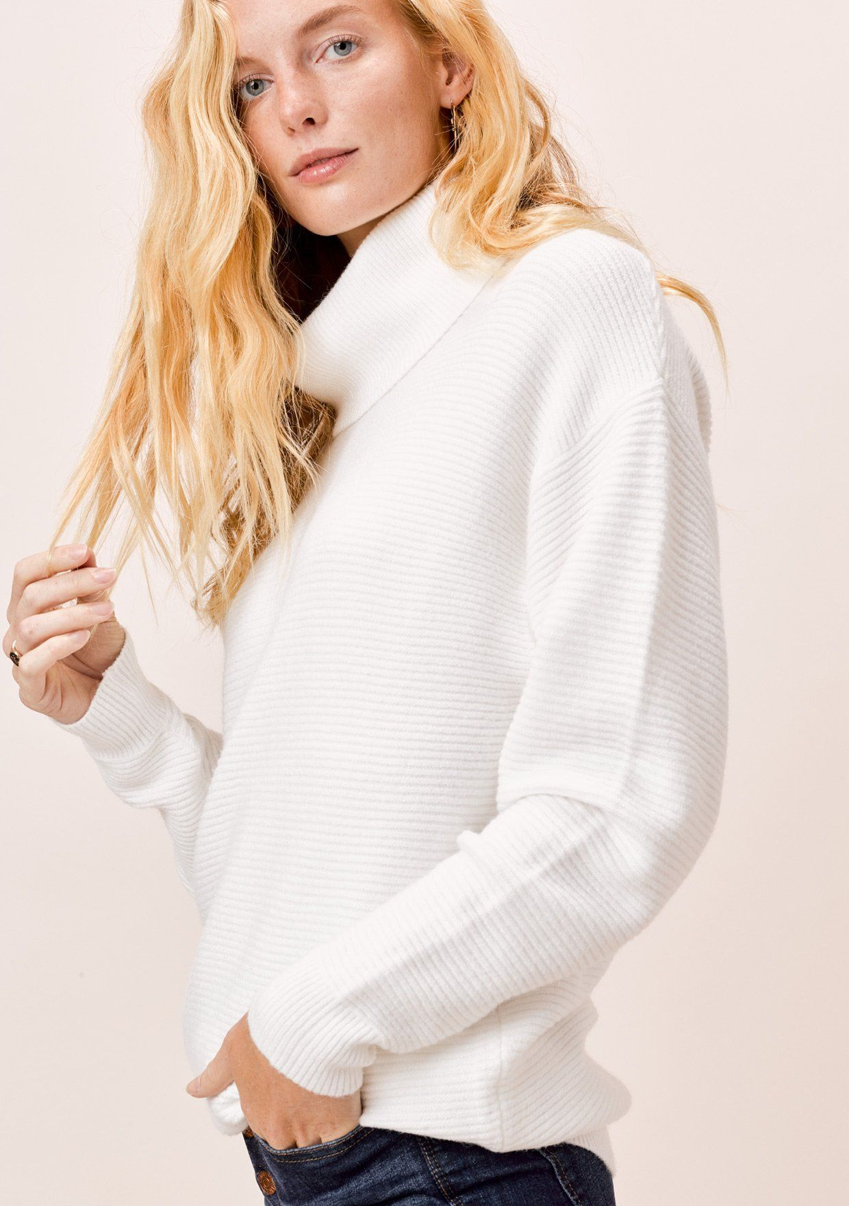 [Color: Ivory] Lovestitch Ivory Relaxed Fit Ribbed Turtleneck Sweater