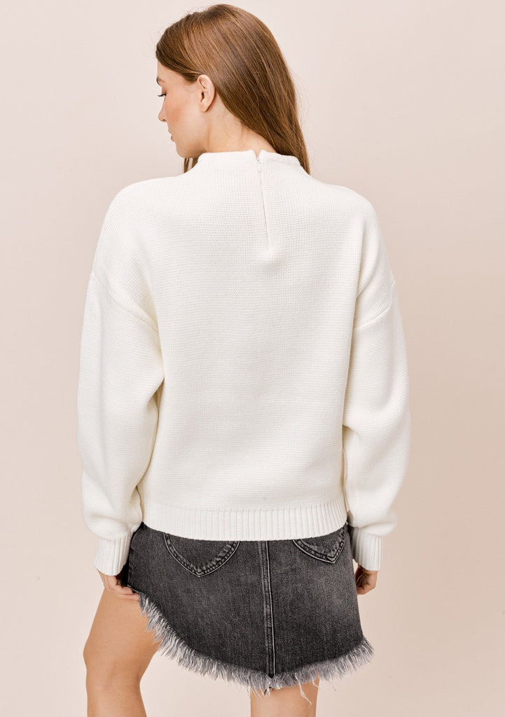 [Color: Off White] Lovestitch Off White, Cotton Blend, Funnel Neck Zip Back Sweater