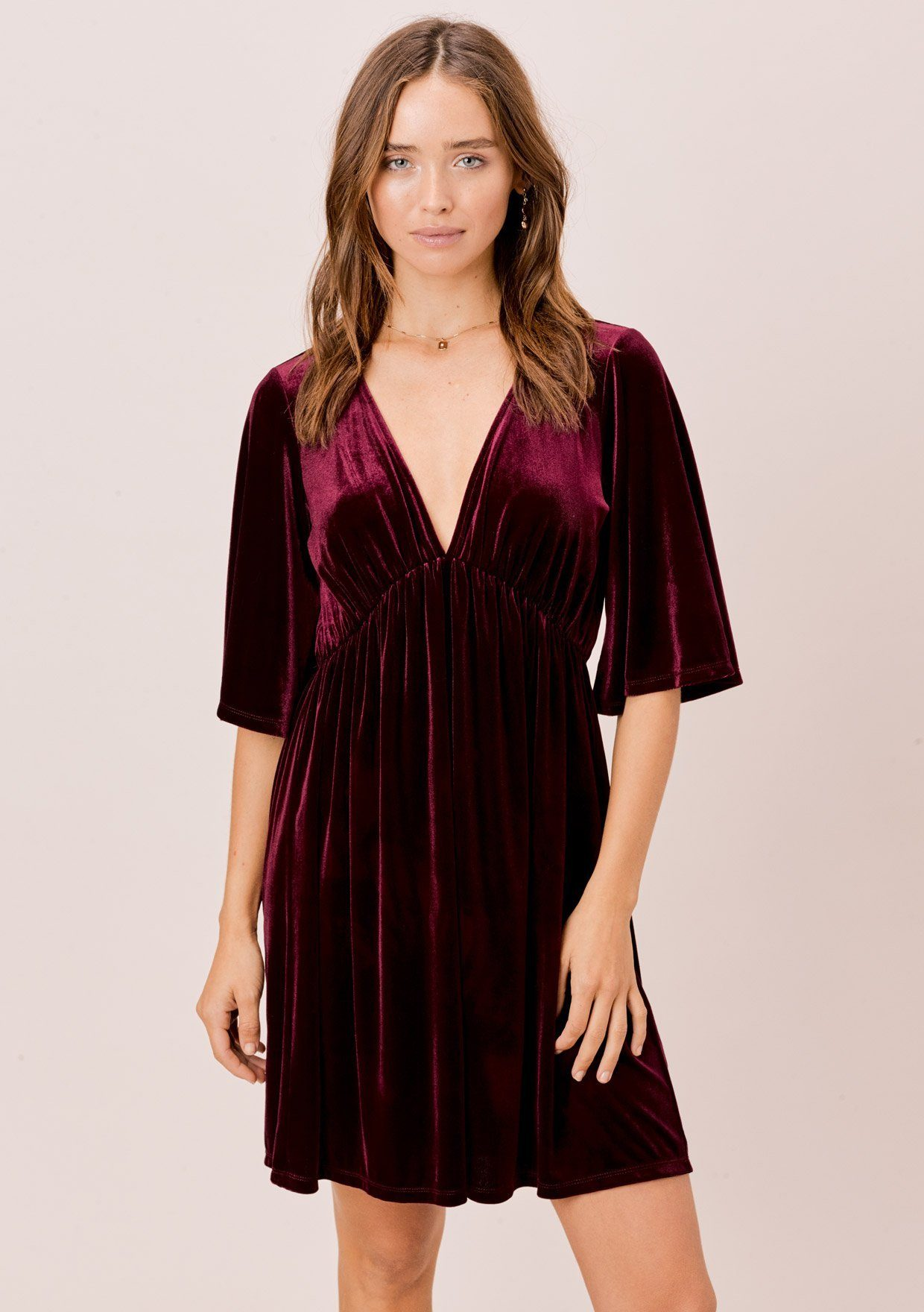 [Color: Wine] Lovestitch wine gorgeous & soft, velvet mini dress with deep V-neckline and empire waist.