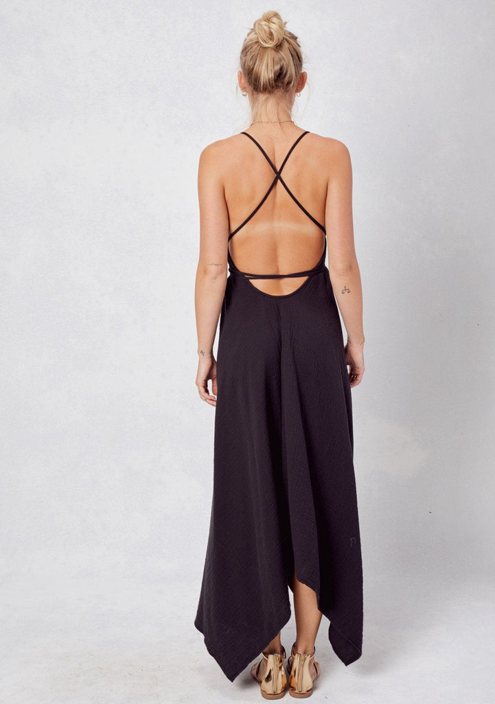 [Color: Black] Lovestitch V-neckline, black cotton dress with versatile long straps and backless detail
