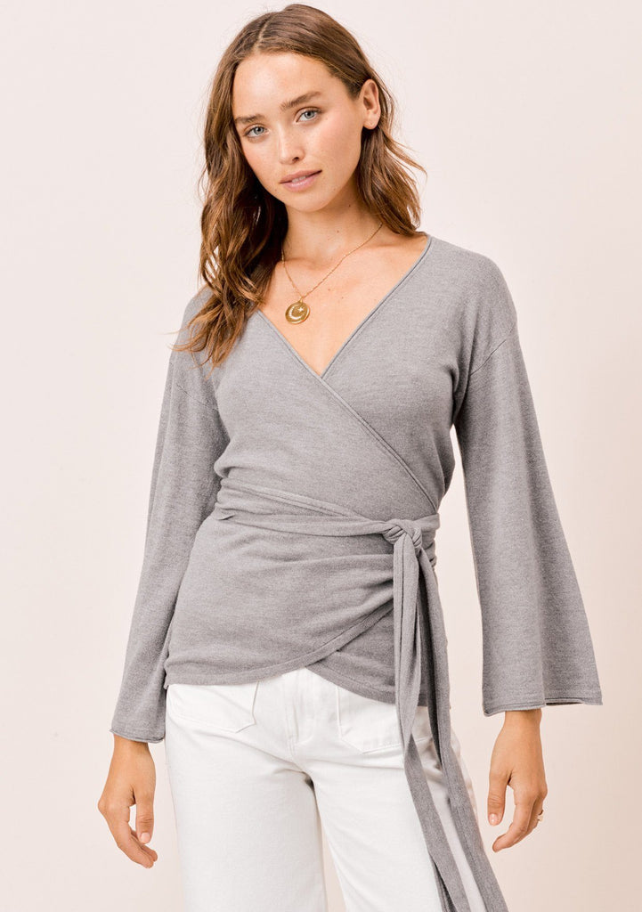 [Color: Heather Ash] Lovestitch ash grey super soft, bell sleeve, wrap knit top.