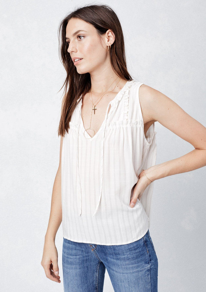 [Color: Natural/Tan] Lovestitch yarn dye striped sleeveless top with subtle ruffled detail and tie front.
