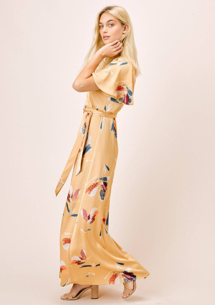 [Color: Honey Gold] Lovestitch silken honey gold, floral printed, wrap maxi skirt.