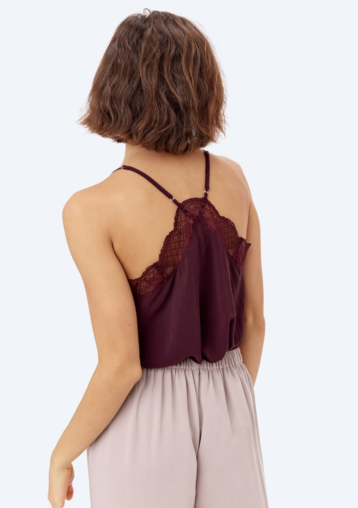 [Color: Eggplant] Lovestitch, eggplant, silken, lace trimmed, camisole