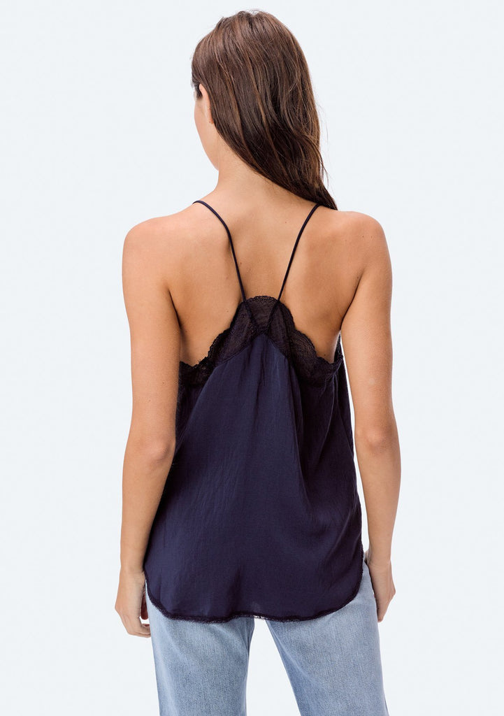 [Color: Navy] Lovestitch, dark navy, silken, lace trimmed, camisole