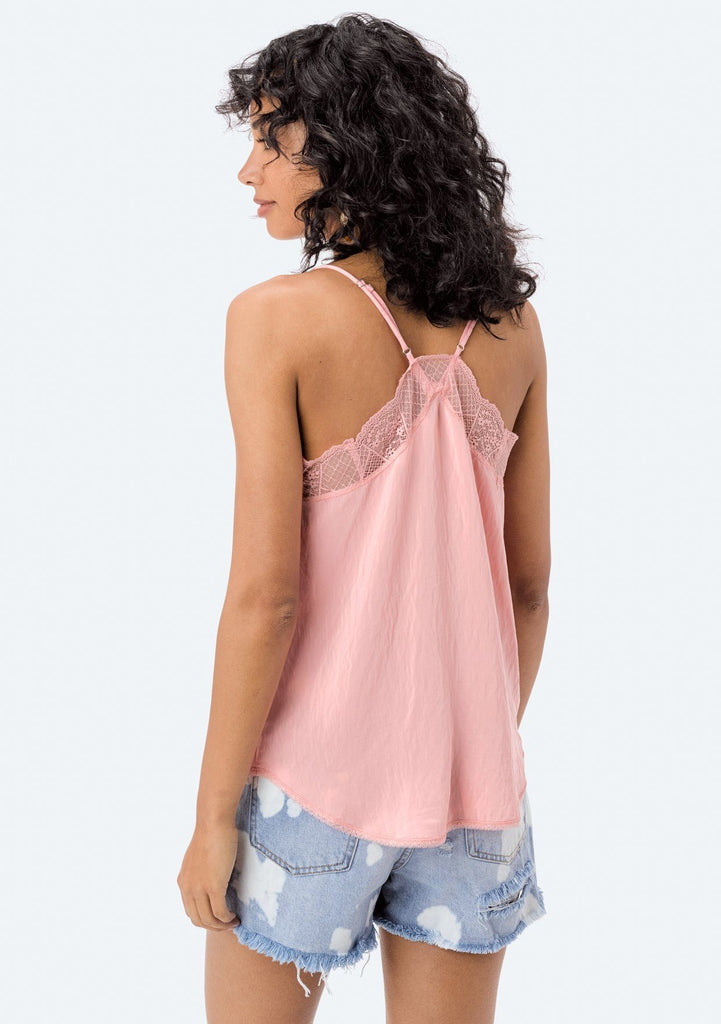 [Color: Peach] Lovestitch, peach, silken, lace trimmed, camisole