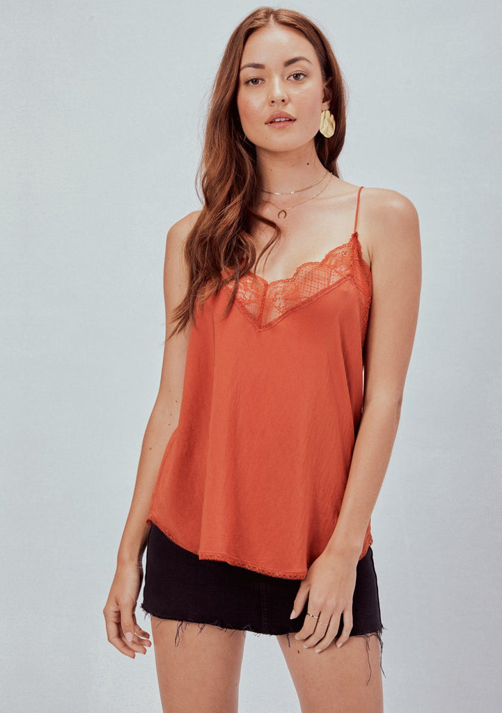 [Color: Rust] Lovestitch, rust orange, silken, lace trimmed, camisole