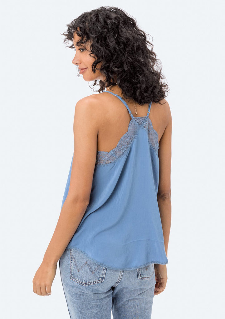 [Color: Sky] Lovestitch, blue, silken, lace trimmed, camisole