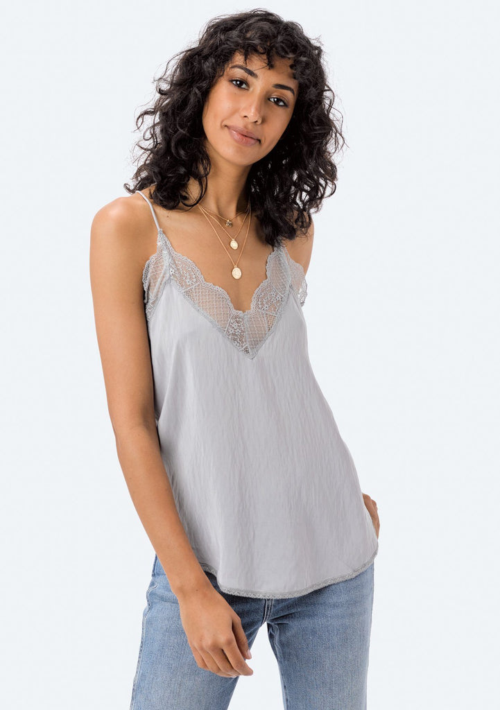 [Color: Silver] Lovestitch, silver, silken, lace trimmed, camisole