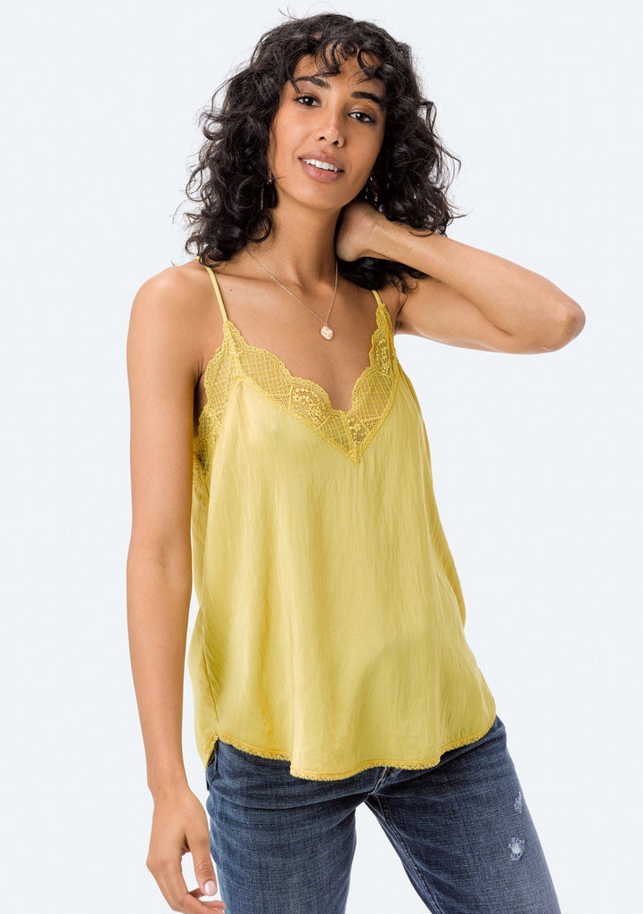[Color: Vintage Lemon] Lovestitch, yellow, silken, lace trimmed, camisole