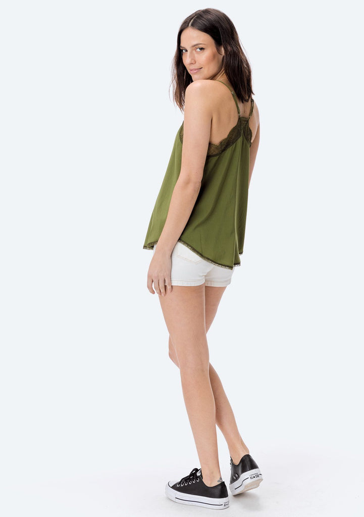 [Color: Avocado] Lovestitch, avocado green, silken, lace trimmed, camisole