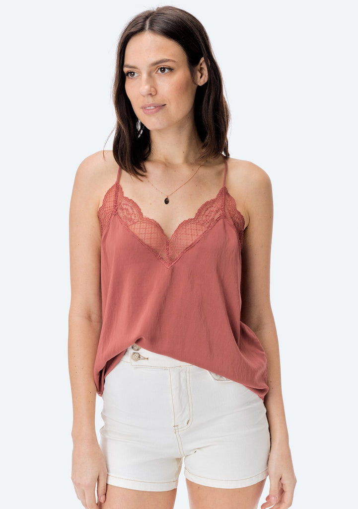 [Color: Clay] Lovestitch, clay, silken, lace trimmed, camisole