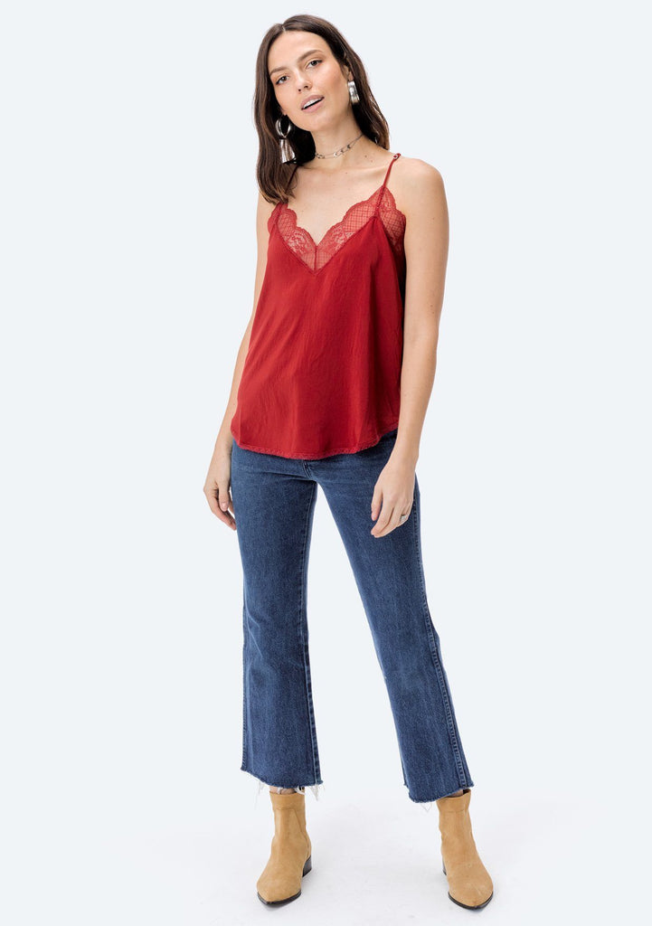 [Color: Henna] Lovestitch, henna red, silken, lace trimmed, camisole