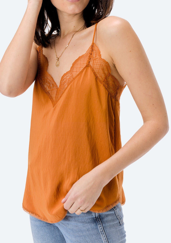 [Color: Honey] Lovestitch, honey gold, silken, lace trimmed, camisole