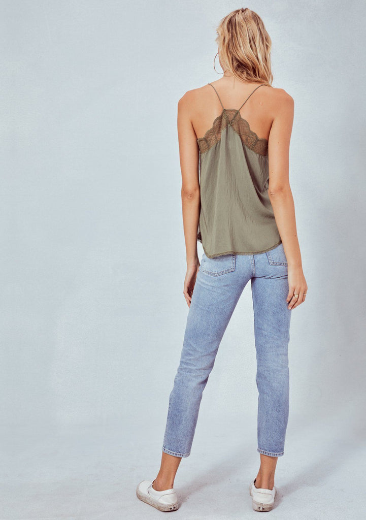 [Color: Army] Lovestitch, olive green, silken, lace trimmed, camisole