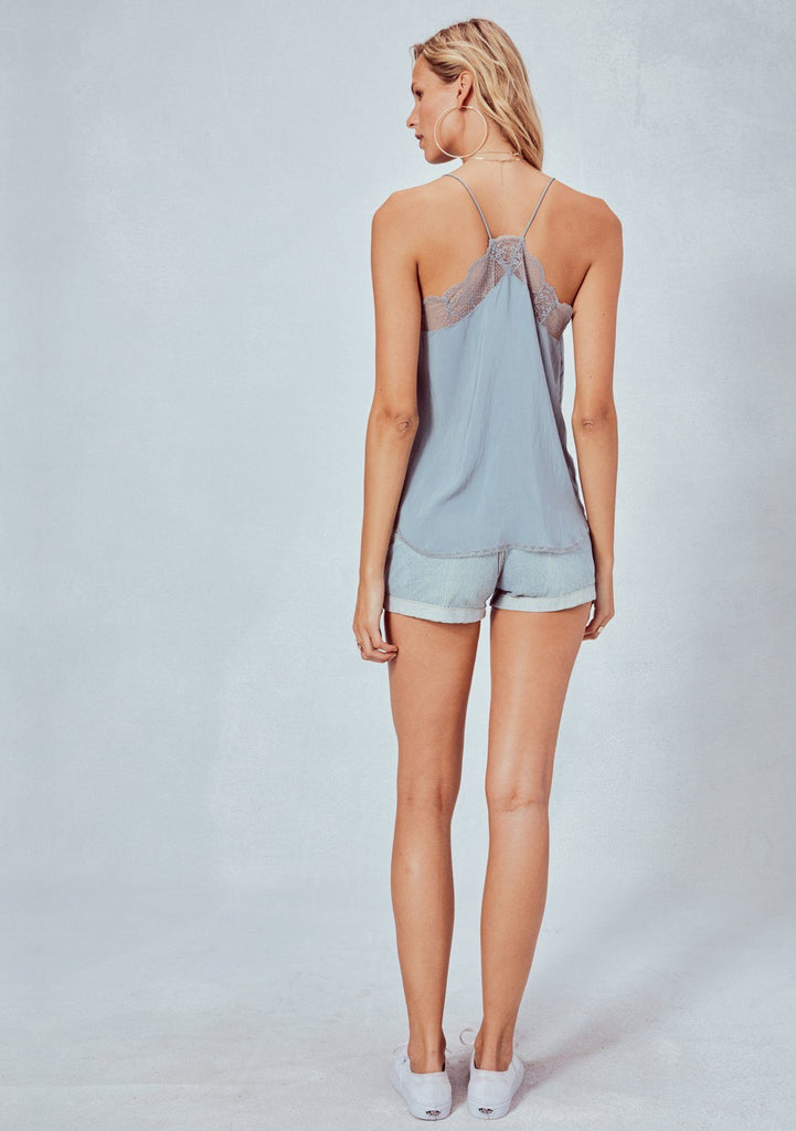 [Color: Dusty Blue] Lovestitch, blue, silken, lace trimmed, camisole