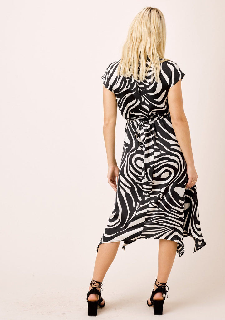 [Color: Black/Bone] Lovestitch zebra stripe wraparound midi dress