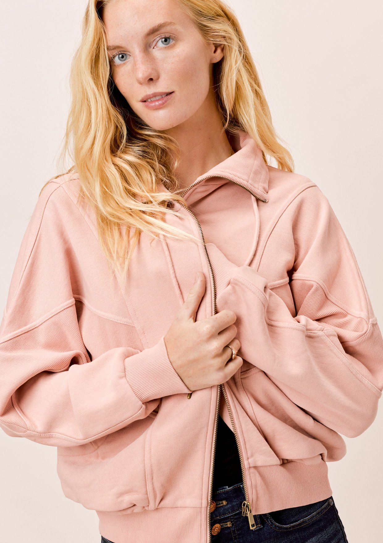 [Color: Pink] Lovestitch pink zip-up sweatshirt.