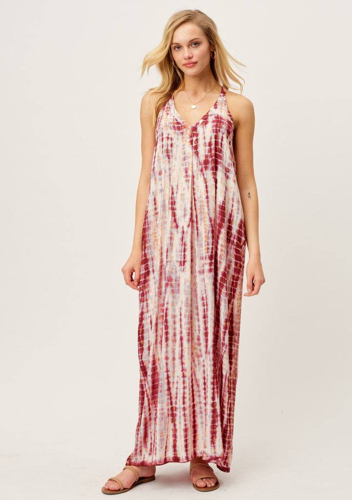 [Color: Berry/Copper] Lovestitch pink and white metallic maxi dress with a deep V neck line, adorable tie-dye