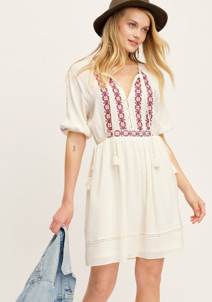 Penny Lane Embroidered Boho Mini Dress
