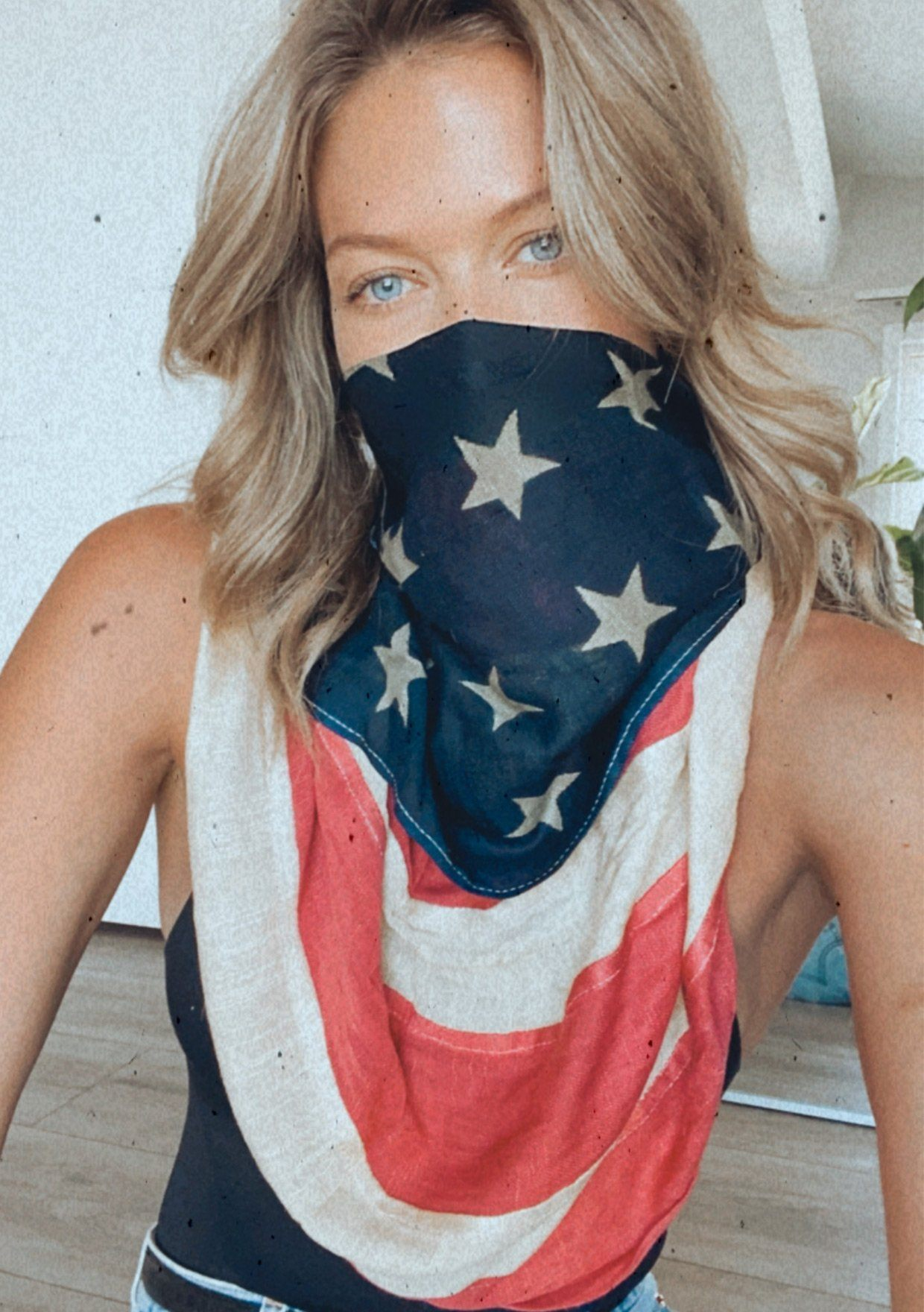 [Color: Flag/Navy] Lovestitch beautiful american flag scarf that doubles as a facemask