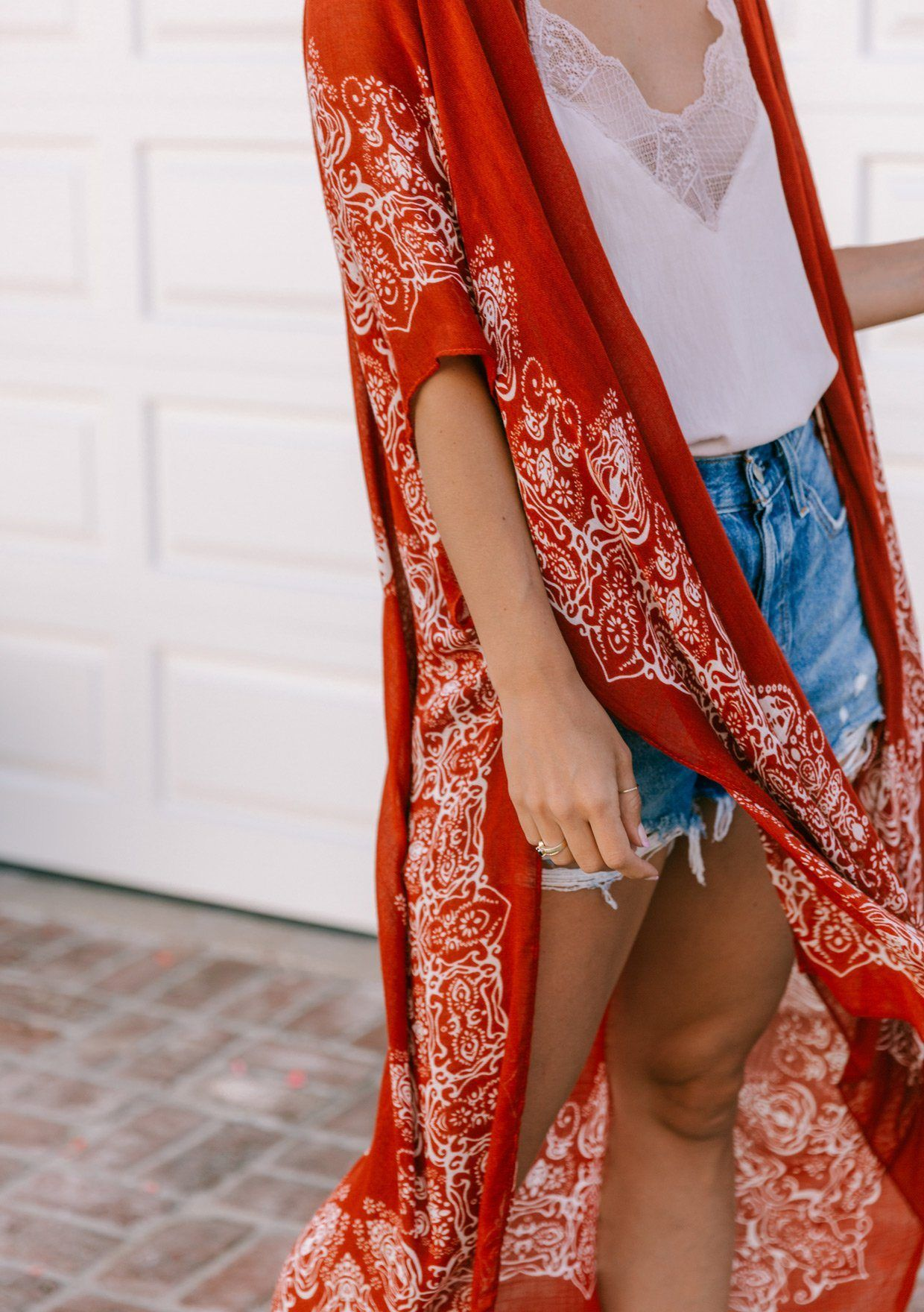 [Color: Red/Bone] Lovestitch beautiful bohemian red maxi kimono with intricate medallion boho print and a sexy side slit. The most flattering beach kimono swimwear cover up.
