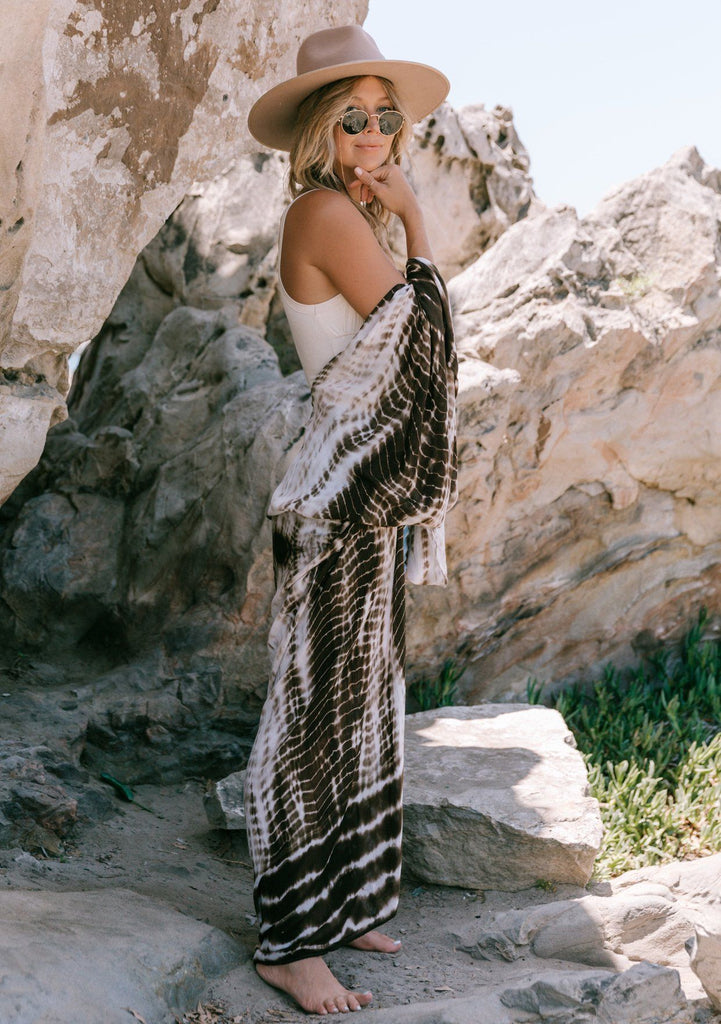 [Color: Chocolate] Lovestitch beautiful tie-dye chocolate brown and white long maxi kimono for beach days