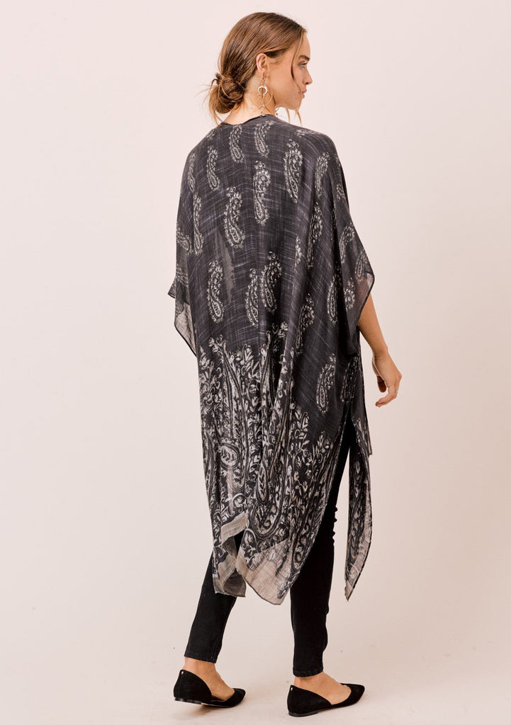 [Color: Black Paisley] Lovestitch lightweight, paisley print kimono with side slits.