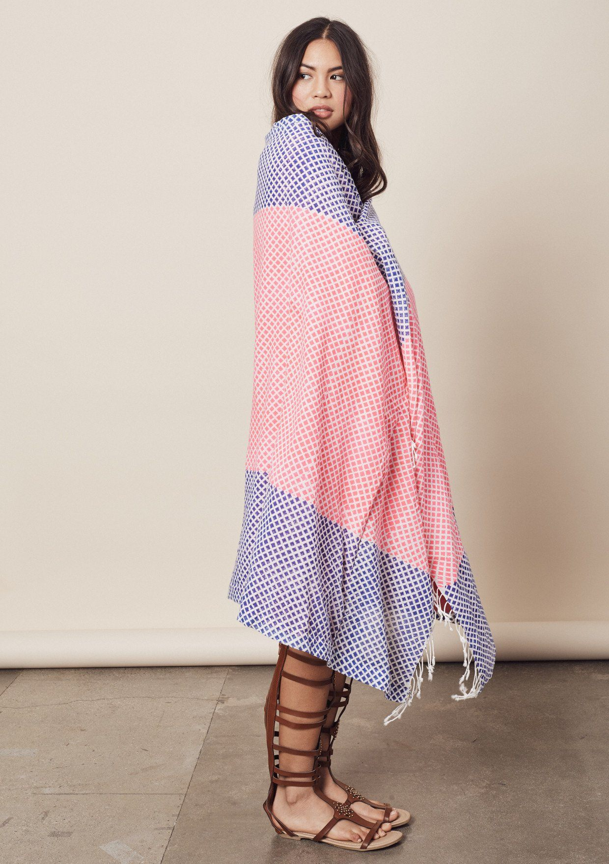 [Color: HotPink/Cobalt] Lovestitch pink & blue, mini diamond border, block printed beach towel/blanket, made in soft cotton and Turkish terry cloth with fringe edge.