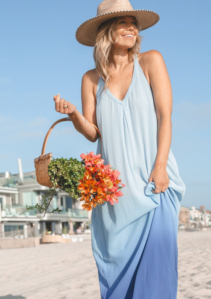 [Color: Blue] Lovestitch beautiful bohemian chic beach maxi dress with ombre blue deep v neckline a racer back and side pockets