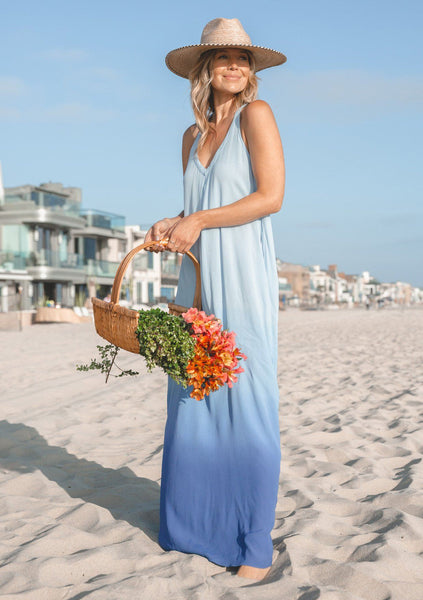 Beach Waves Ombre Maxi Dress