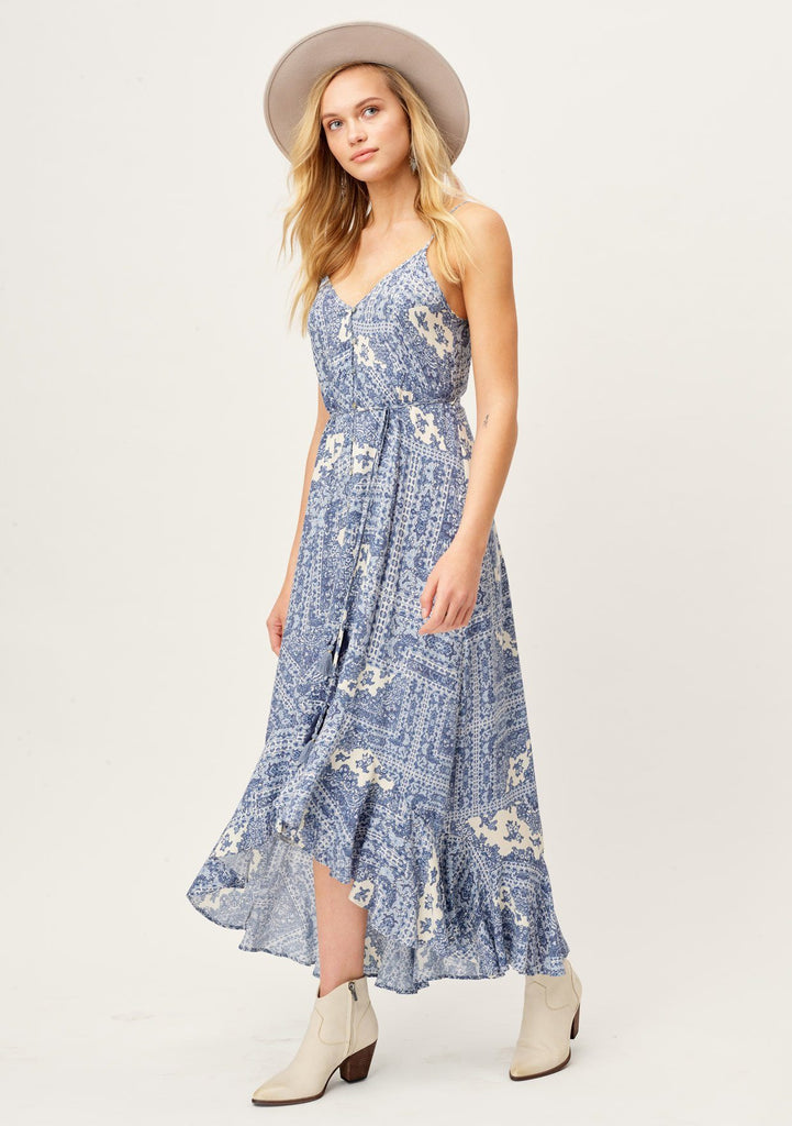 [Color: Slate/Bone] Lovestitch beautiful summer white and blue paisley maxi dress with button front top and ruffled high low hem