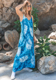 [Color: Turquoise/Light Blue] Lovestitch turquoise & light blue, tie dye harem maxi dress with pockets