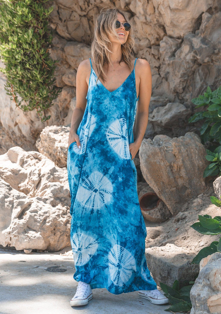[Color: Turquoise/LightBlue] Lovestitch turquoise & light blue, tie dye harem maxi dress with pockets
