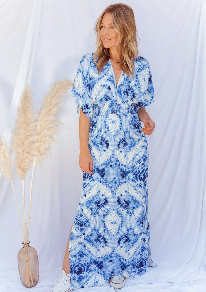 [Color: Blue Multi] Lovestitch beautiful white maxi dress with blue vibrant tie-dye, bohemian chic silhouette with flattering kimono sleeves