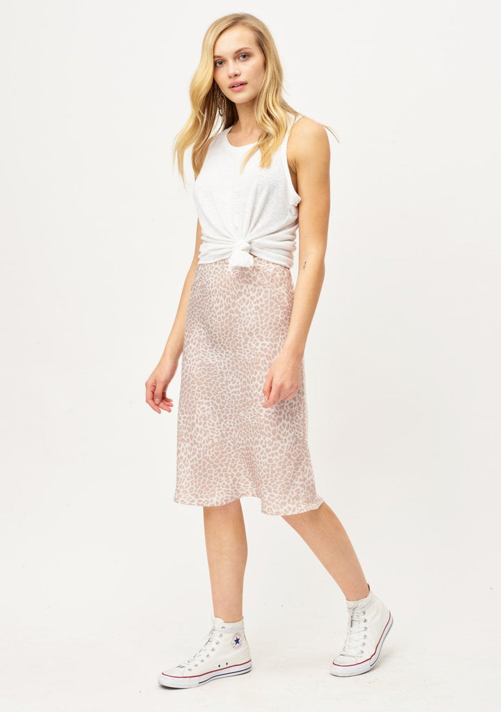 [Color: Nude/Sand] Lovestitch pretty silky bias cut leopard print skirt in blush pink