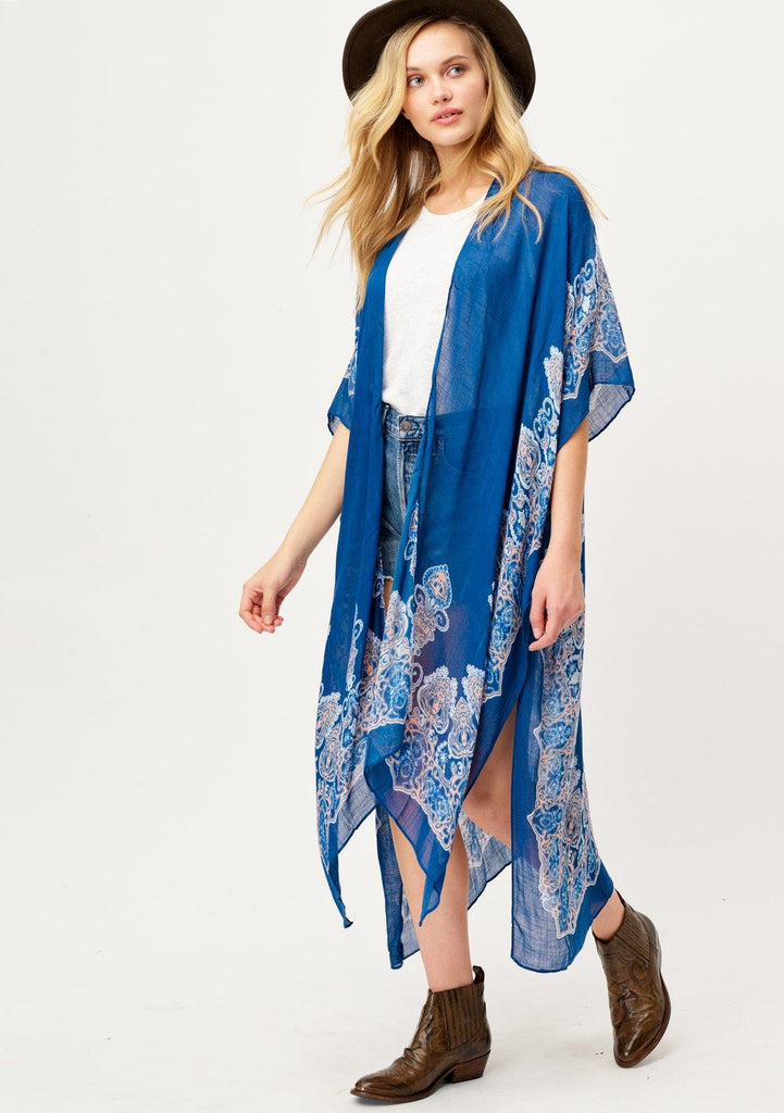 [Color: Navy/Coral Multi] Lovestitch long blue boho beach kimono with flattering billowy silhouette and Moroccan print.