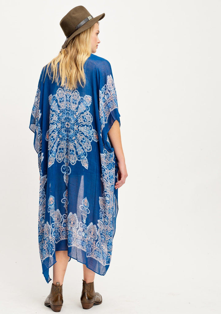 [Color: Navy/Coral Multi] Lovestitch long blue boho beach kimono with flattering billowy silhouette and Moroccan print