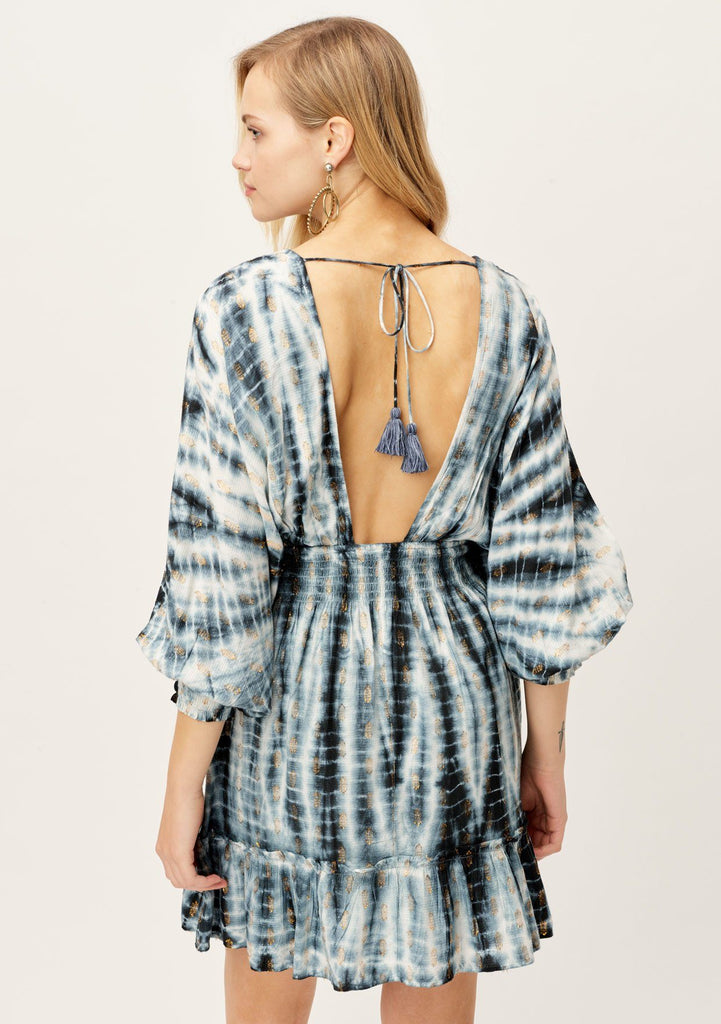 [Color: Navy/Copper] Lovestitch bohemian blue and white tie-dye mini dress with metallic details, long split sleeves, open back tassel ties.