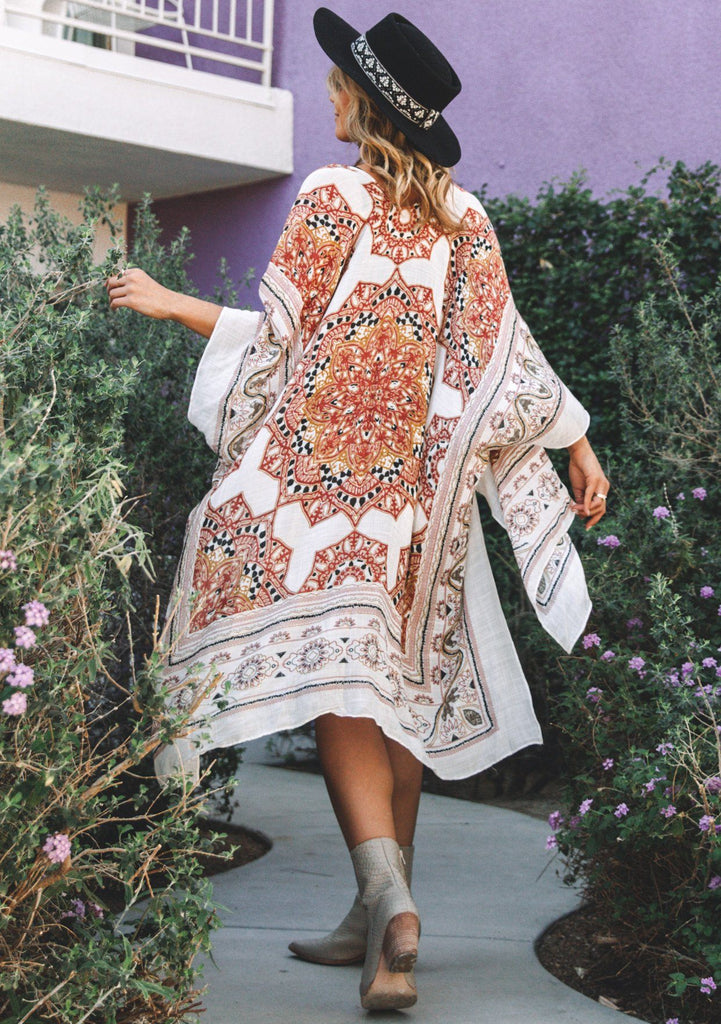 [Color: Natural/Spice] Lovestitch beautiful bohemian white kimono with boho border print floral paisley, red and gold and black details. A flattering beach cover up, swimsuit cover, summer kimono